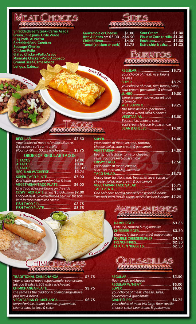 menu for Taqueria Alonzo