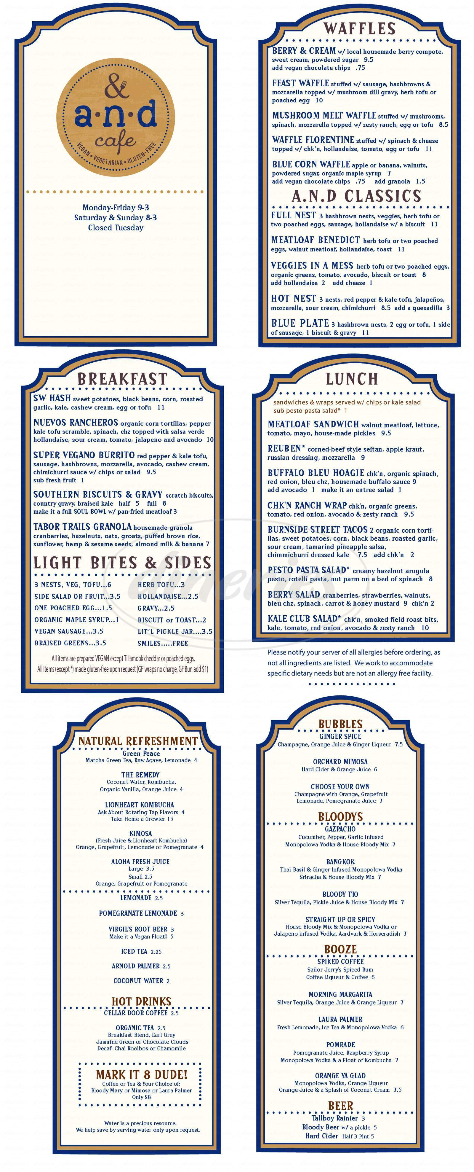 menu for A N D Cafe