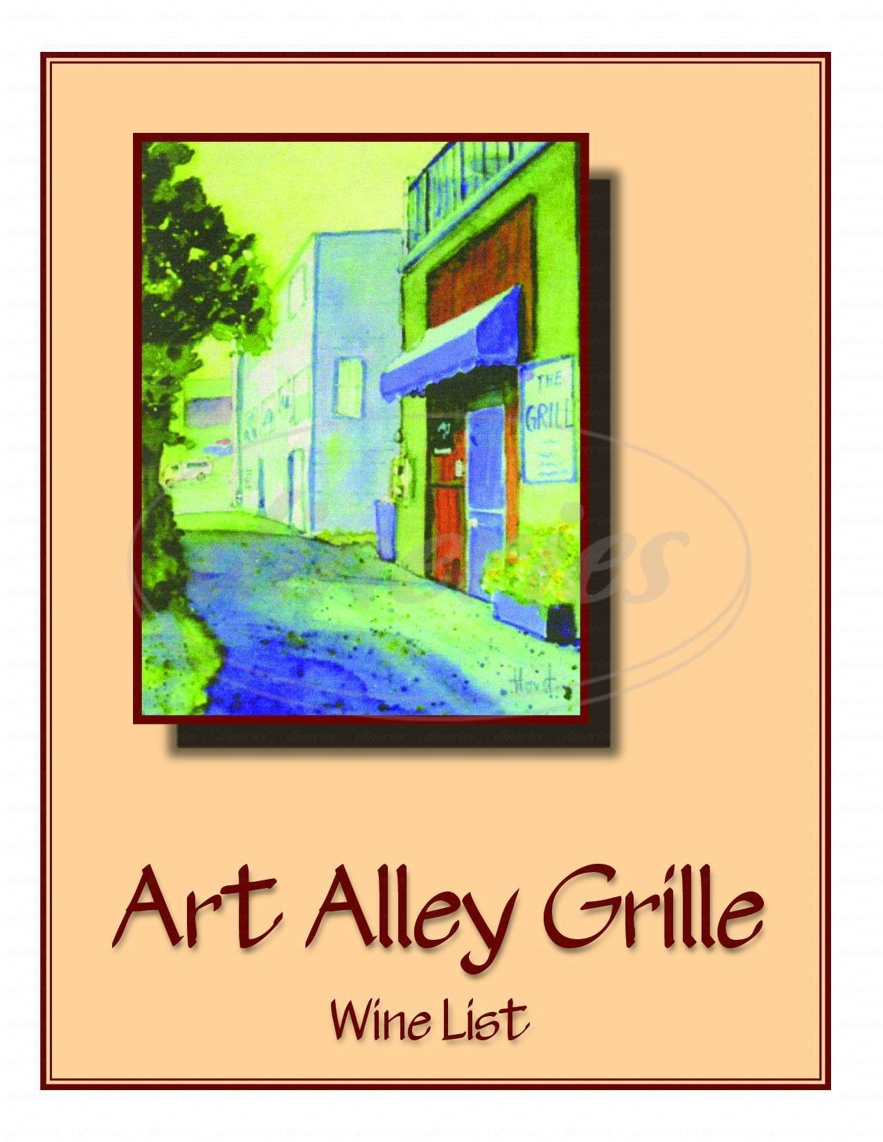 menu for Art Alley Grille