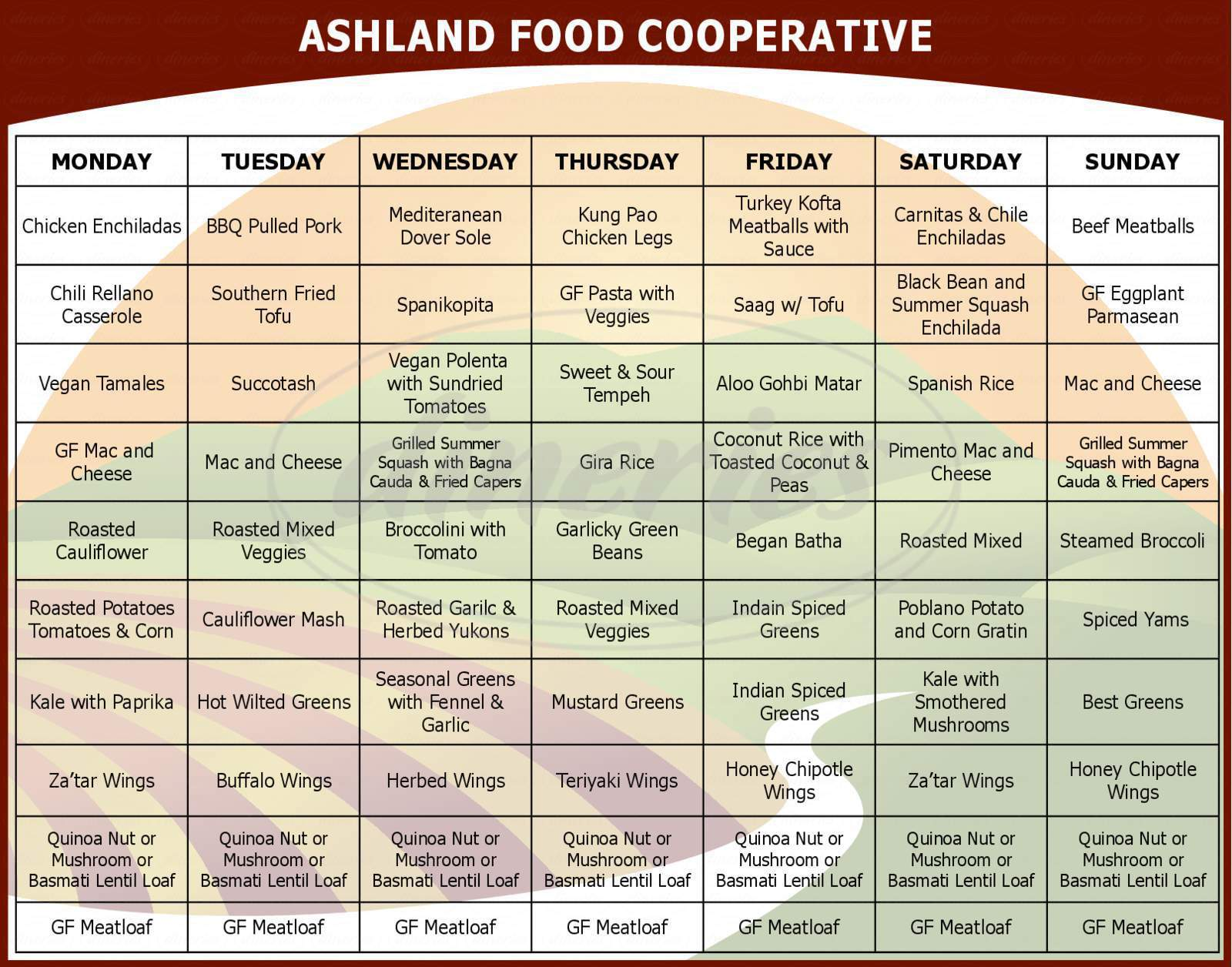 menu for Ashland Food Co-op