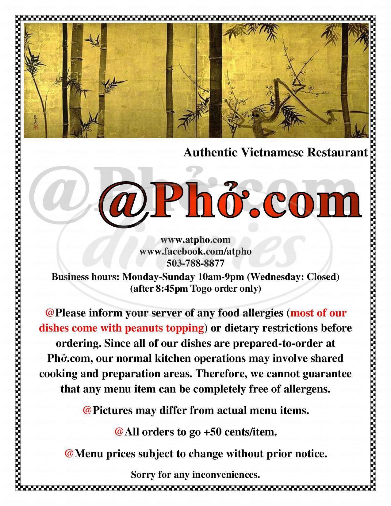 menu for @Pho.Com