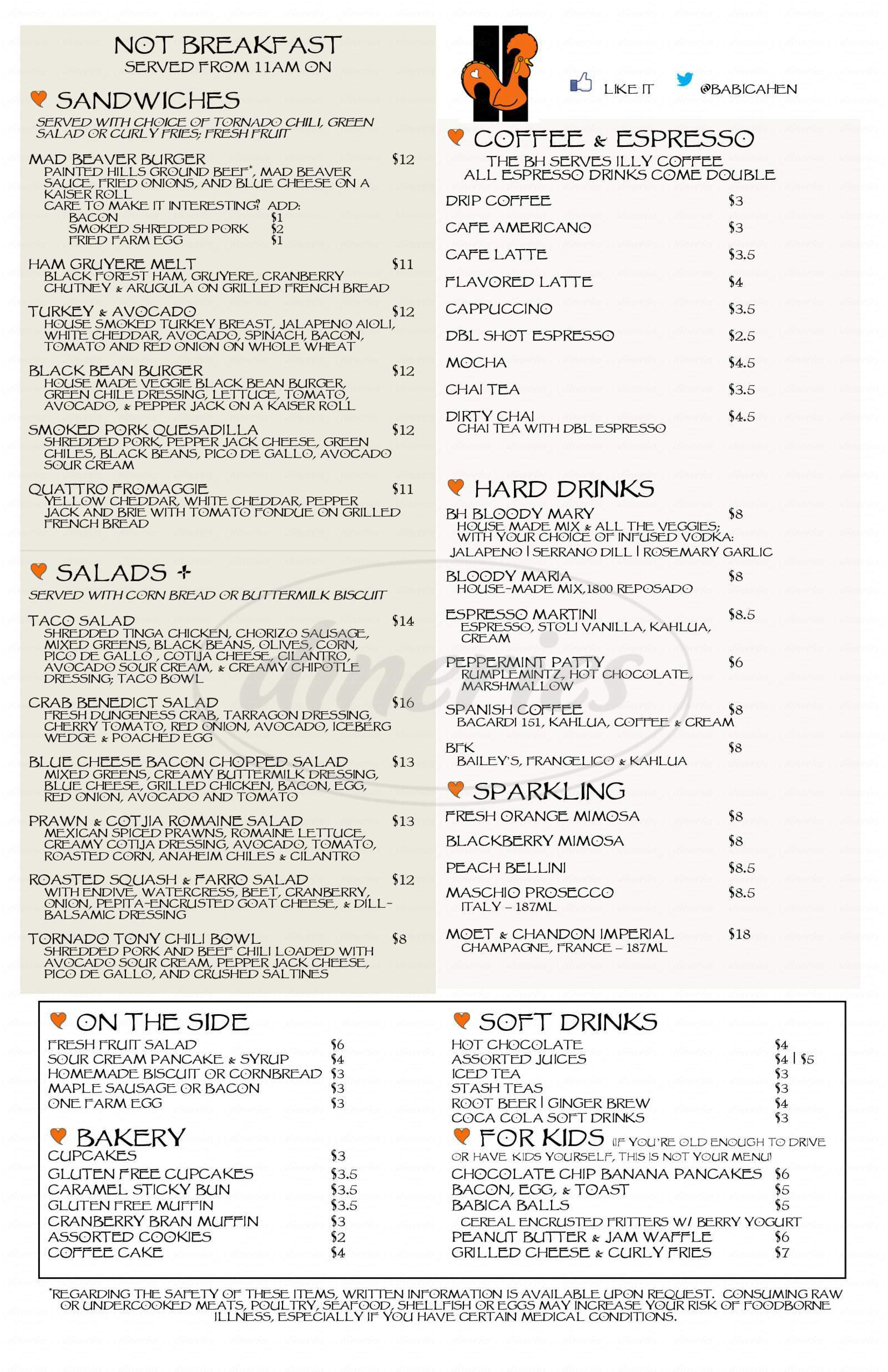 menu for Babica Hen Cafe