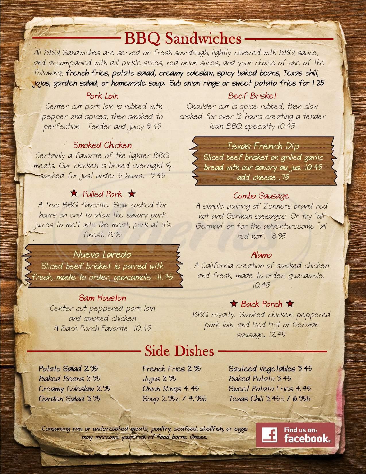 menu for Back Porch Bar & Grill