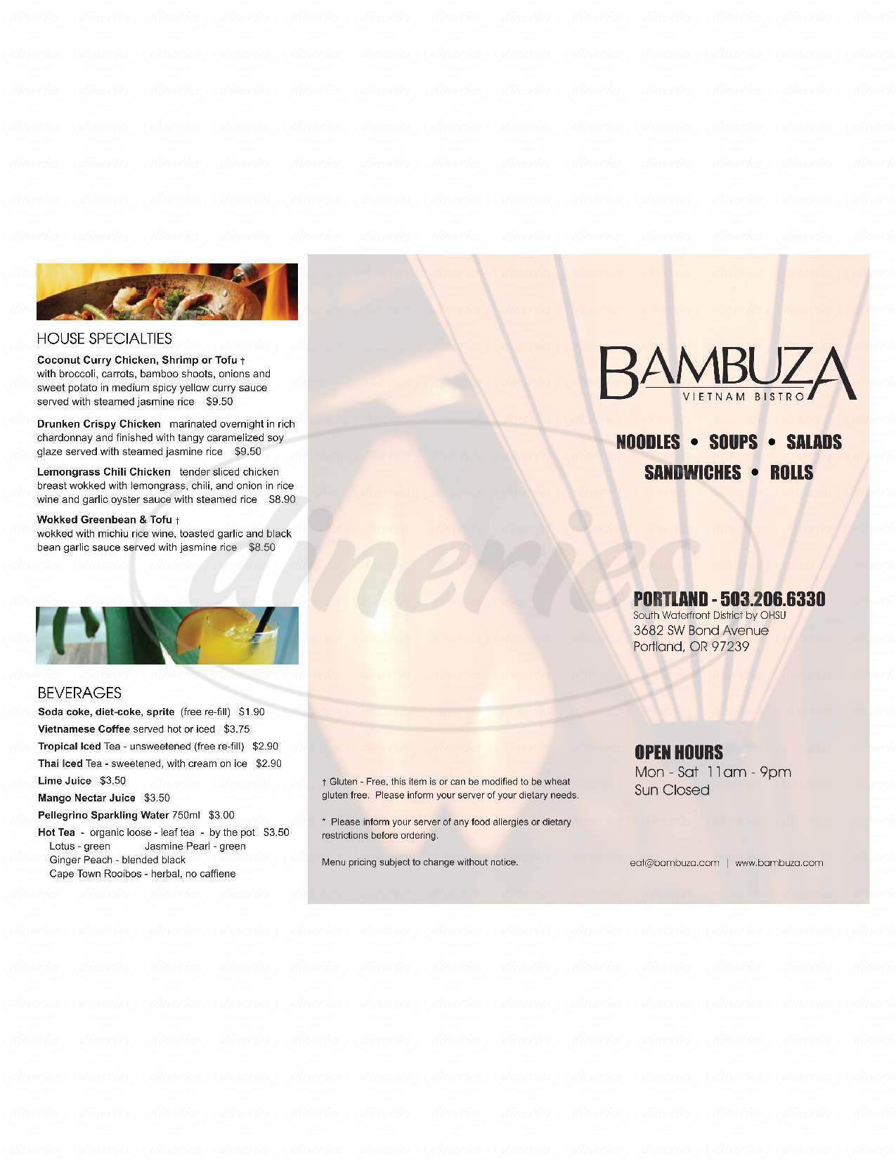 menu for Bambuza Vietnamese Bistro