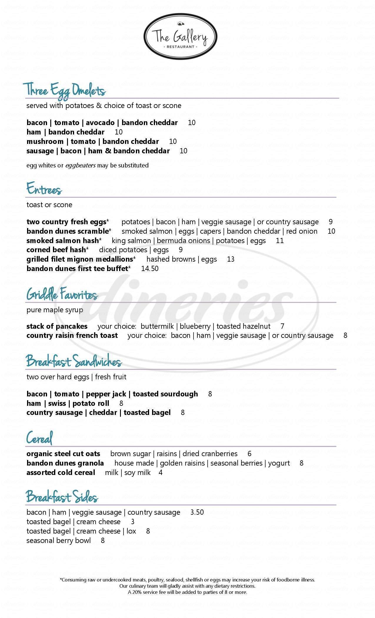 menu for Bandon Dunes Golf Resort