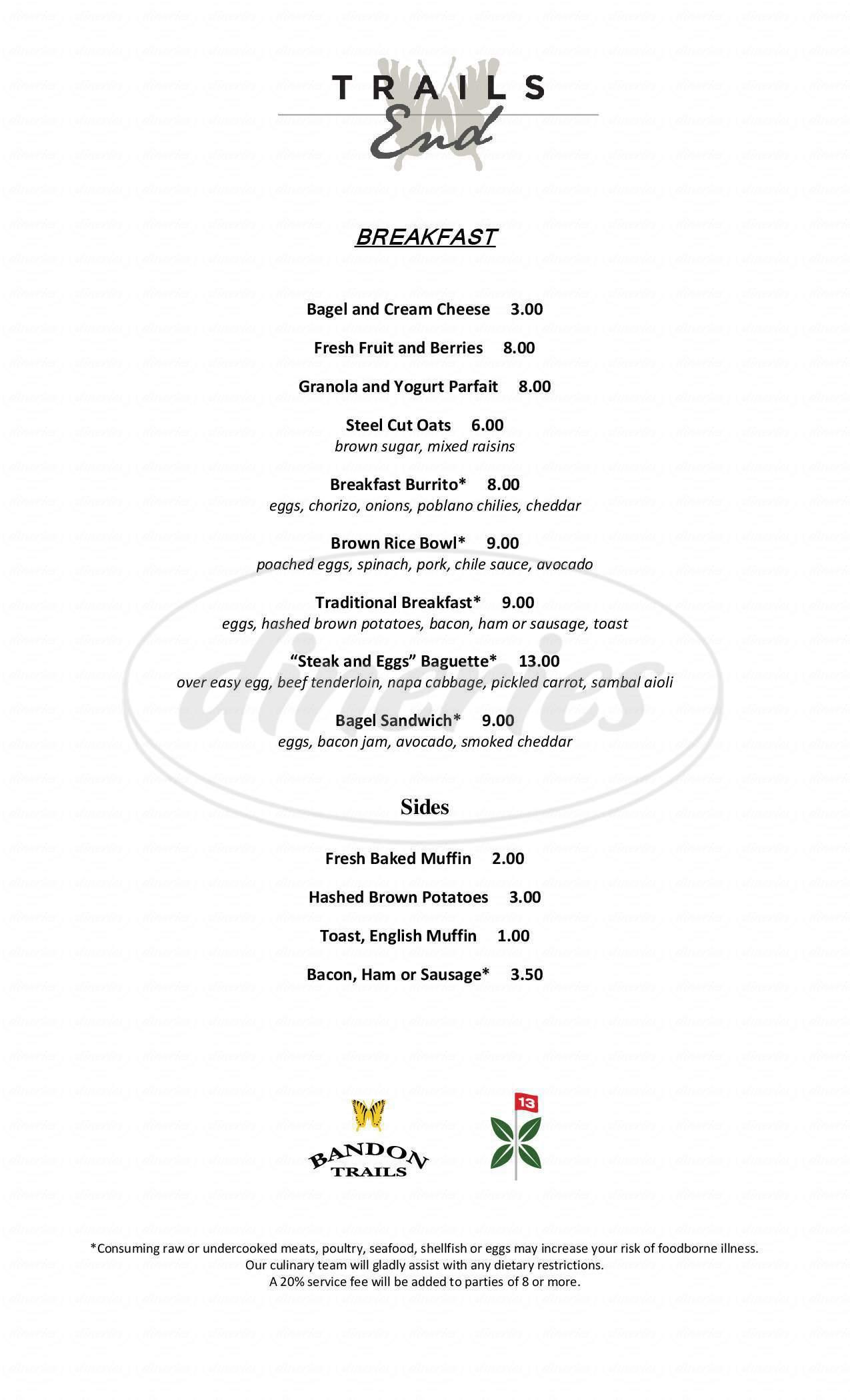 menu for Bandon Trails Golf Course
