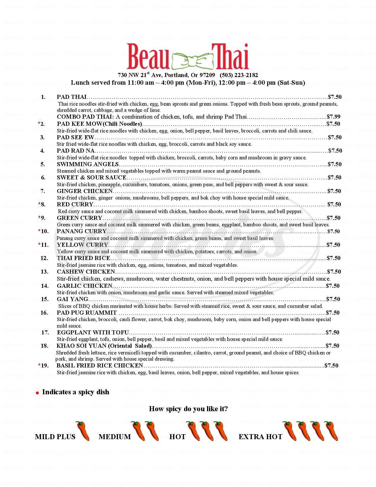 menu for Beau Thai Restaurant