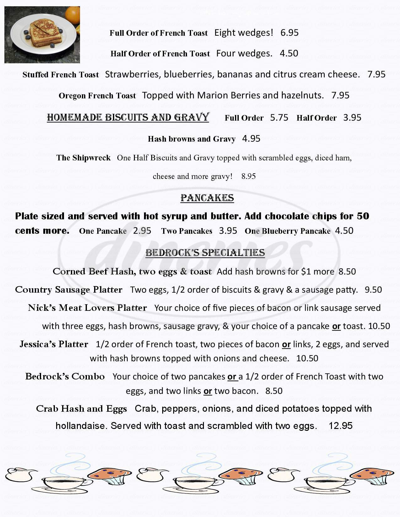 menu for Bedrock's Chowder House & Grill