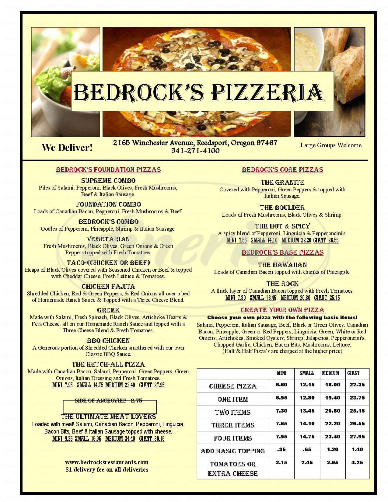 menu for Bedrock's Pizzeria
