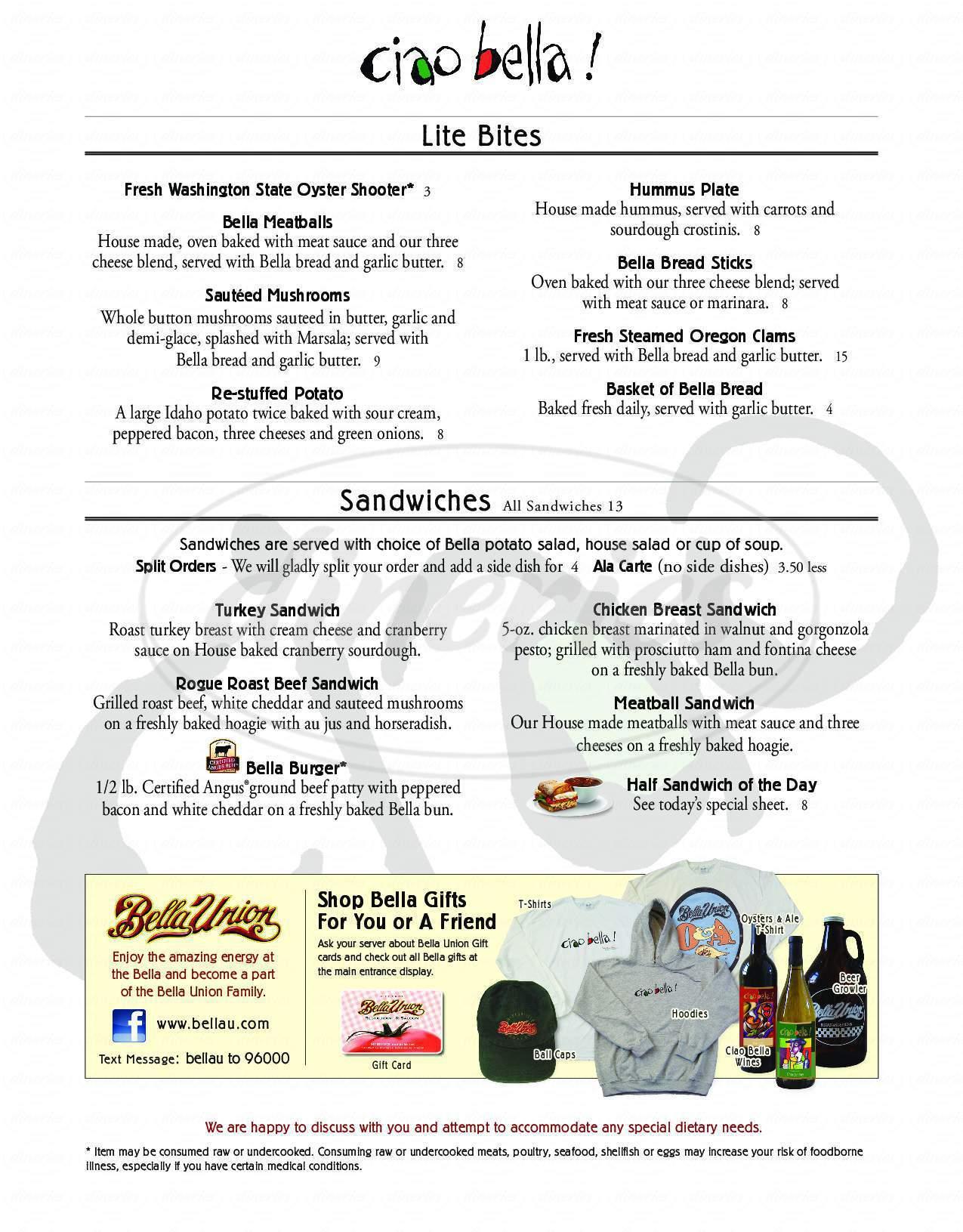 menu for Bella Union