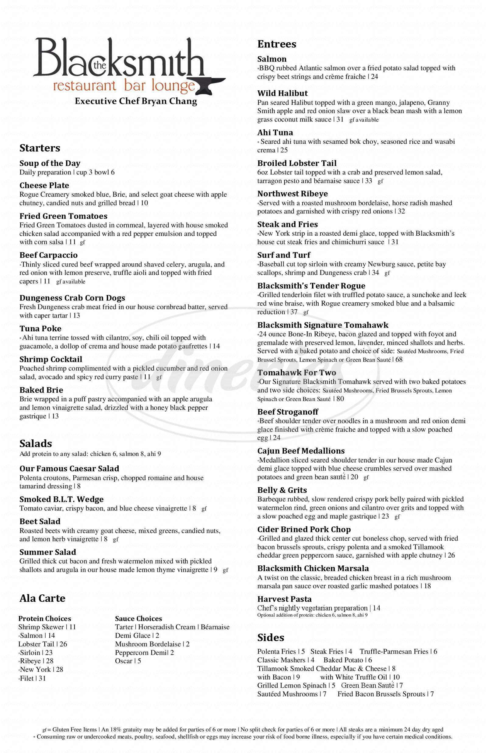 menu for The Blacksmith Steakhouse, Bar & Lounge