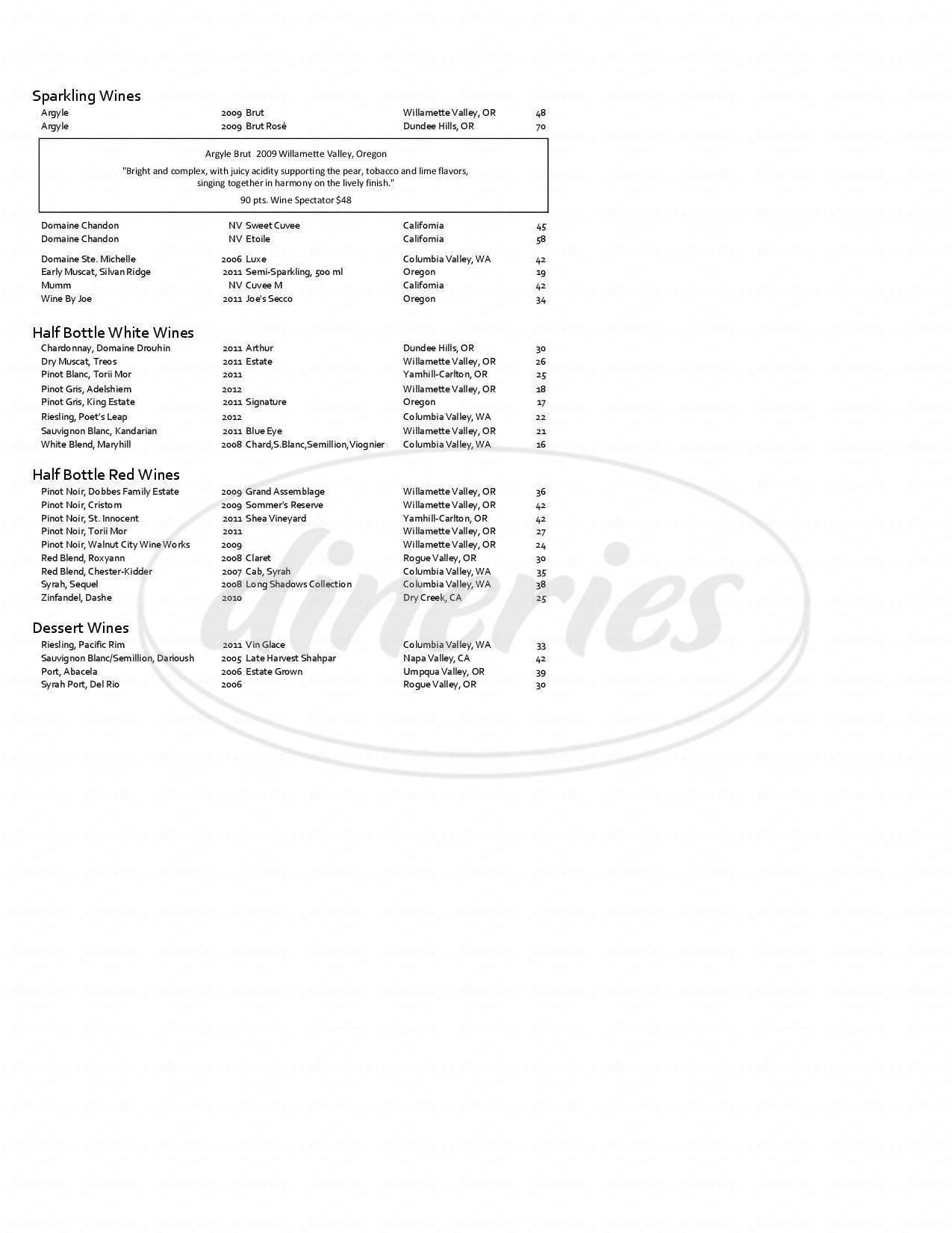 menu for Bentley's Grill