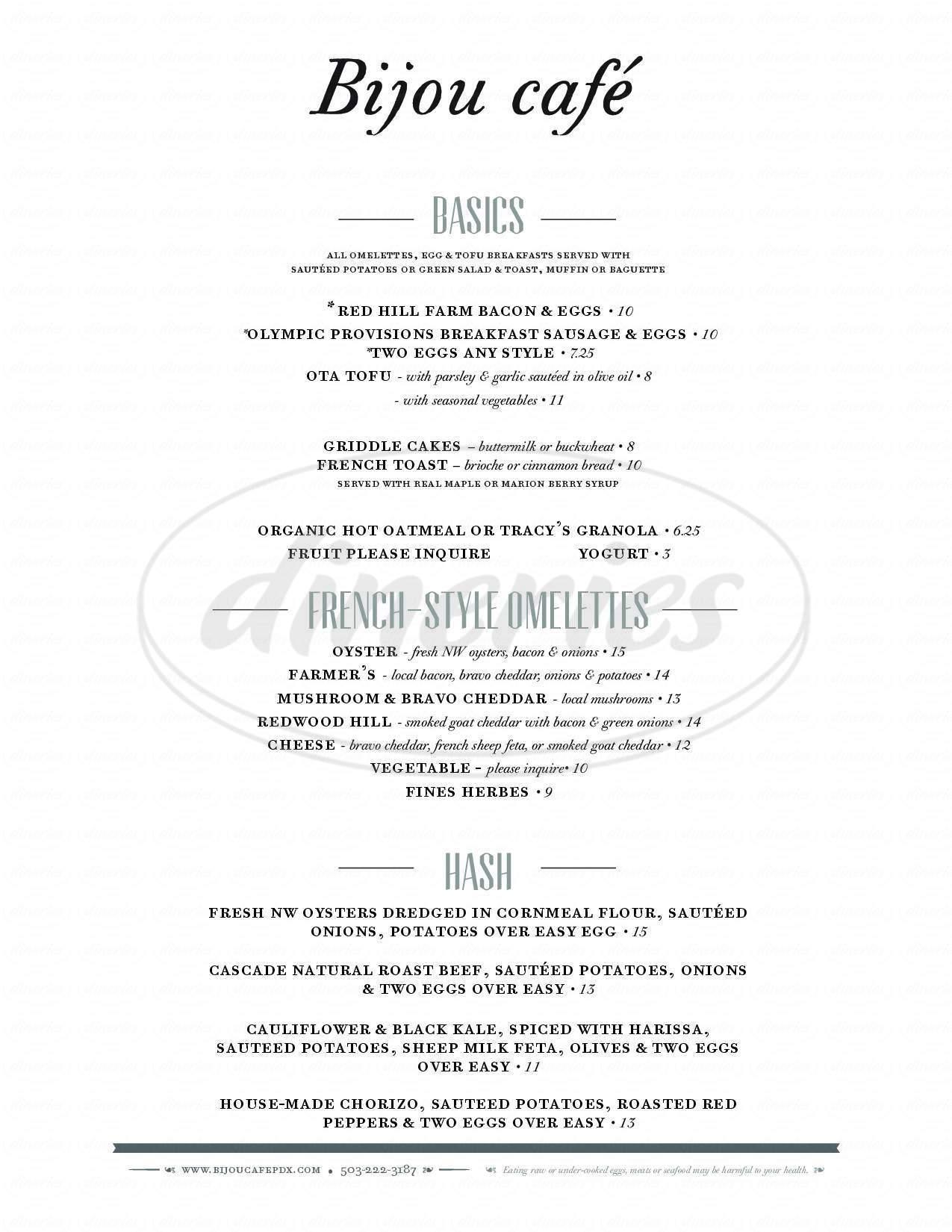 menu for Bijou Café