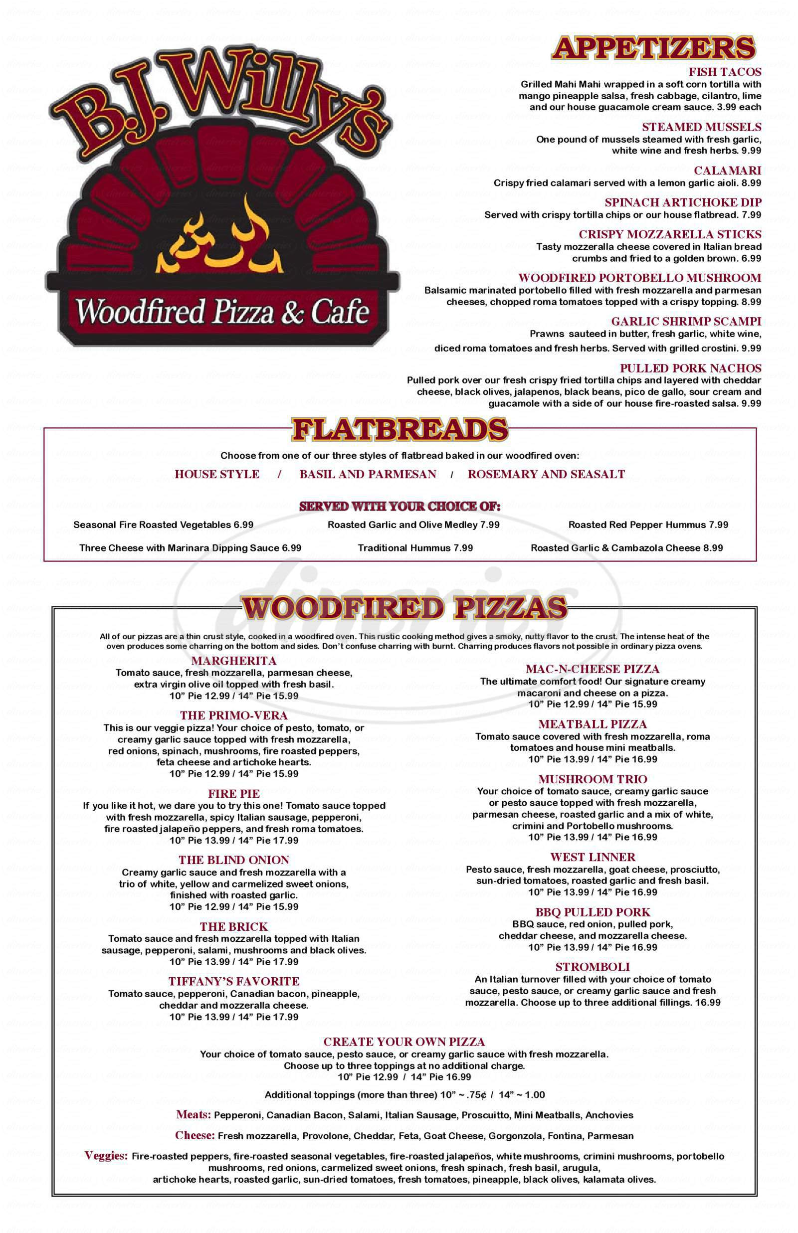 Big menu for B.J. Willy's Woodfired Pizza & Cafe, West Linn