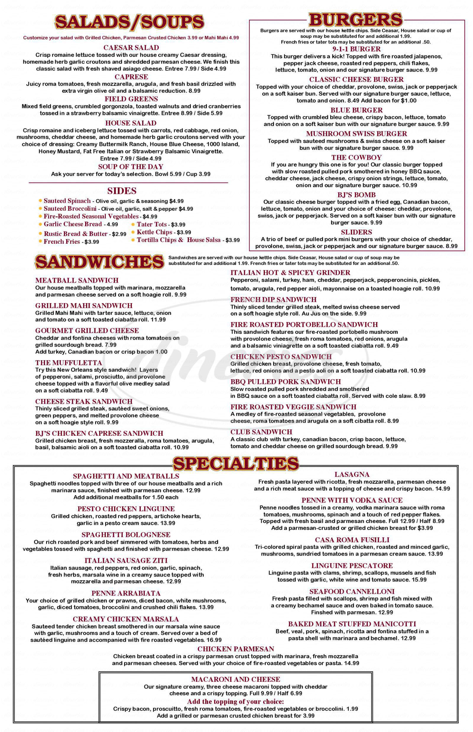 menu for B.J. Willy's Woodfired Pizza & Cafe