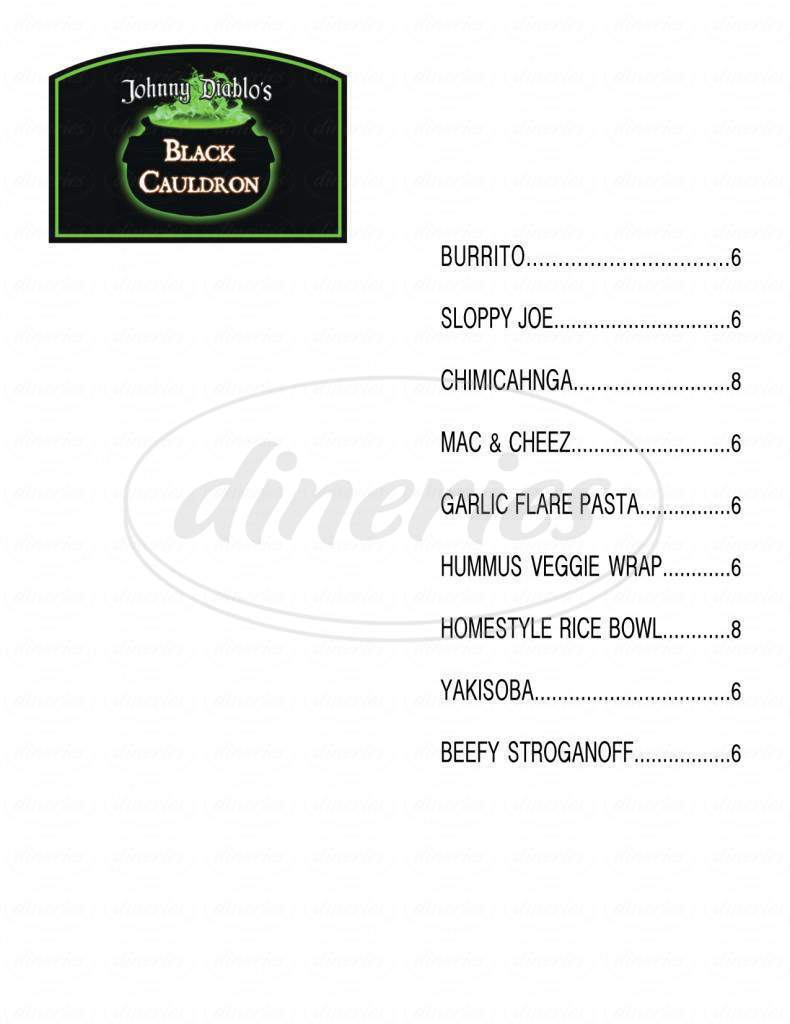 menu for Black Cauldron