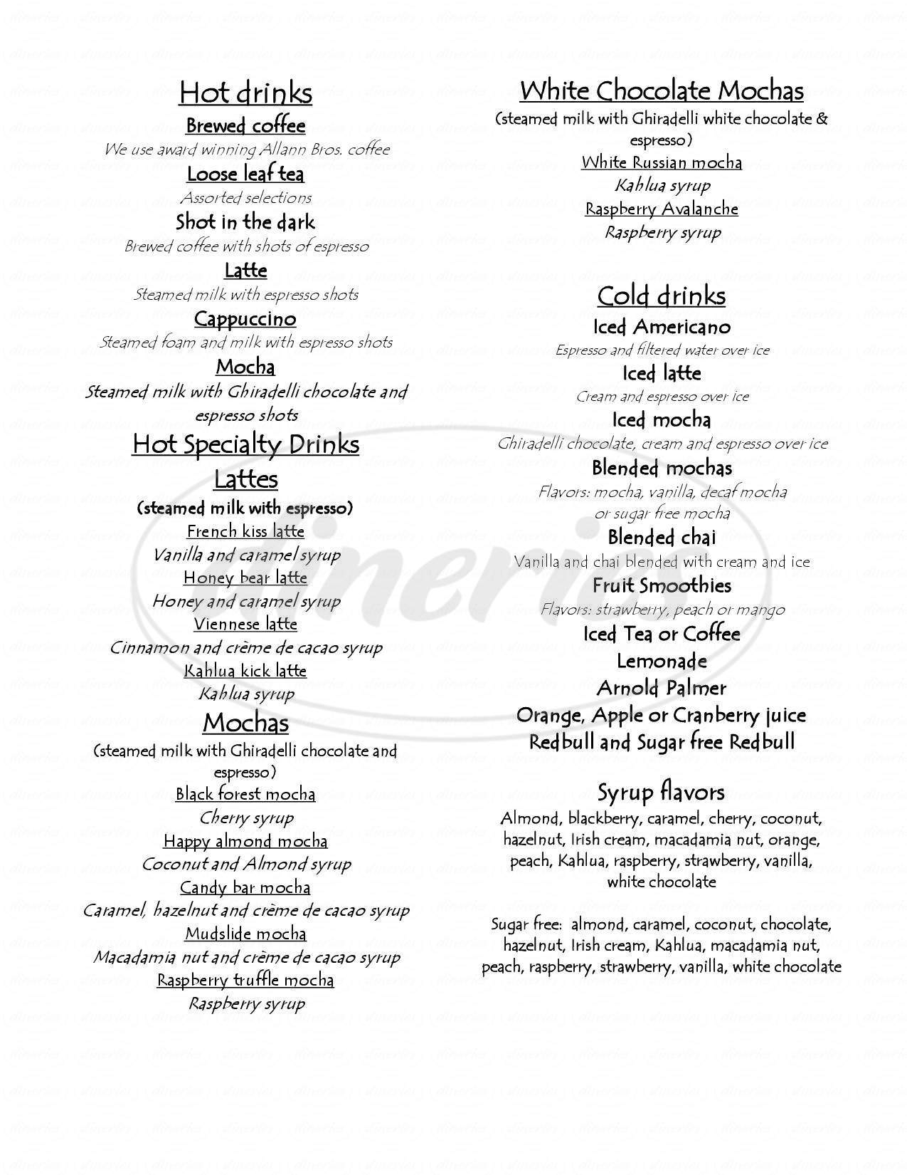 menu for Blue Stone Bakery and Coffee Cafe