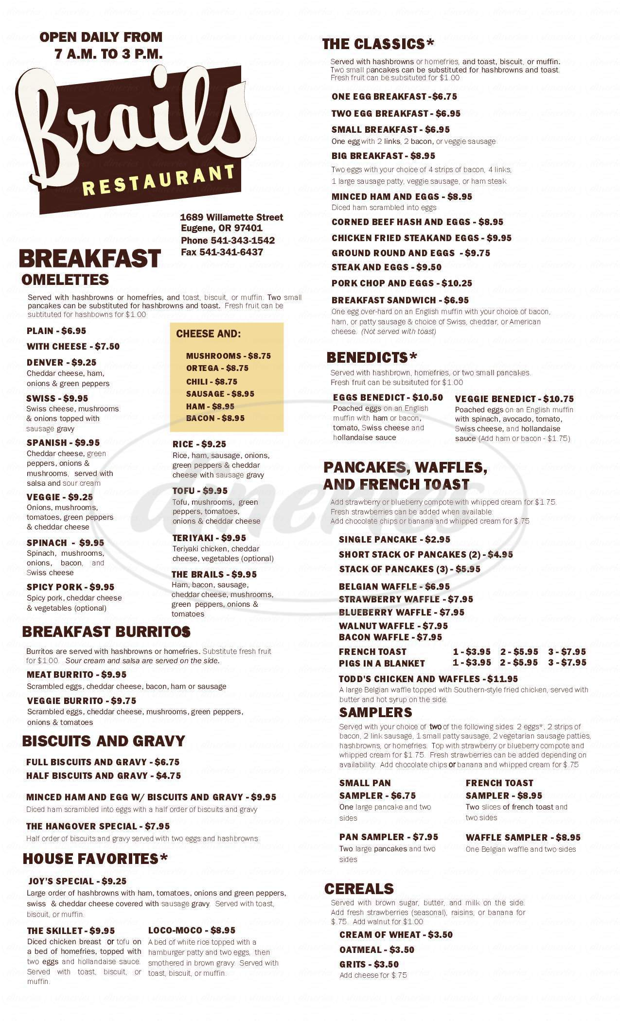 menu for Brail's Restaurant