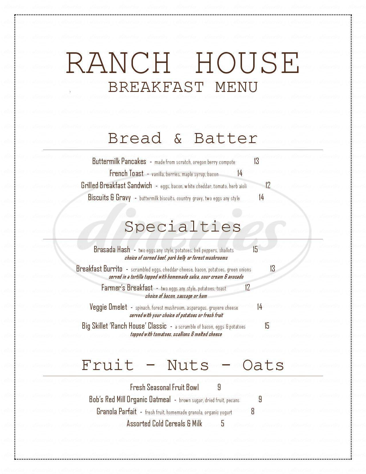 menu for Brasada Ranch