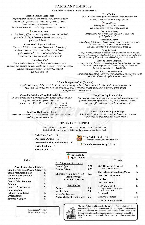 menu for The Bridgewater Fish House Restaurant & Zebra Bar
