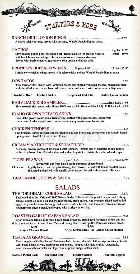 menu for Bronco Billy's Ranch Grill & Saloon