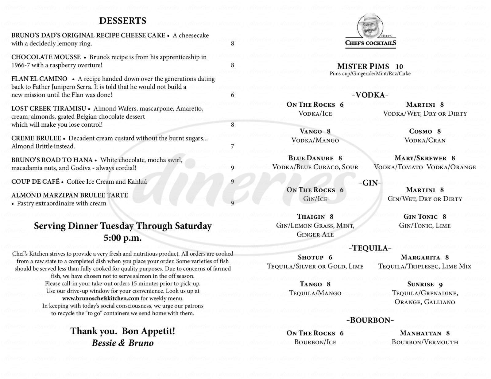 menu for Bruno's Chef's Kitchen