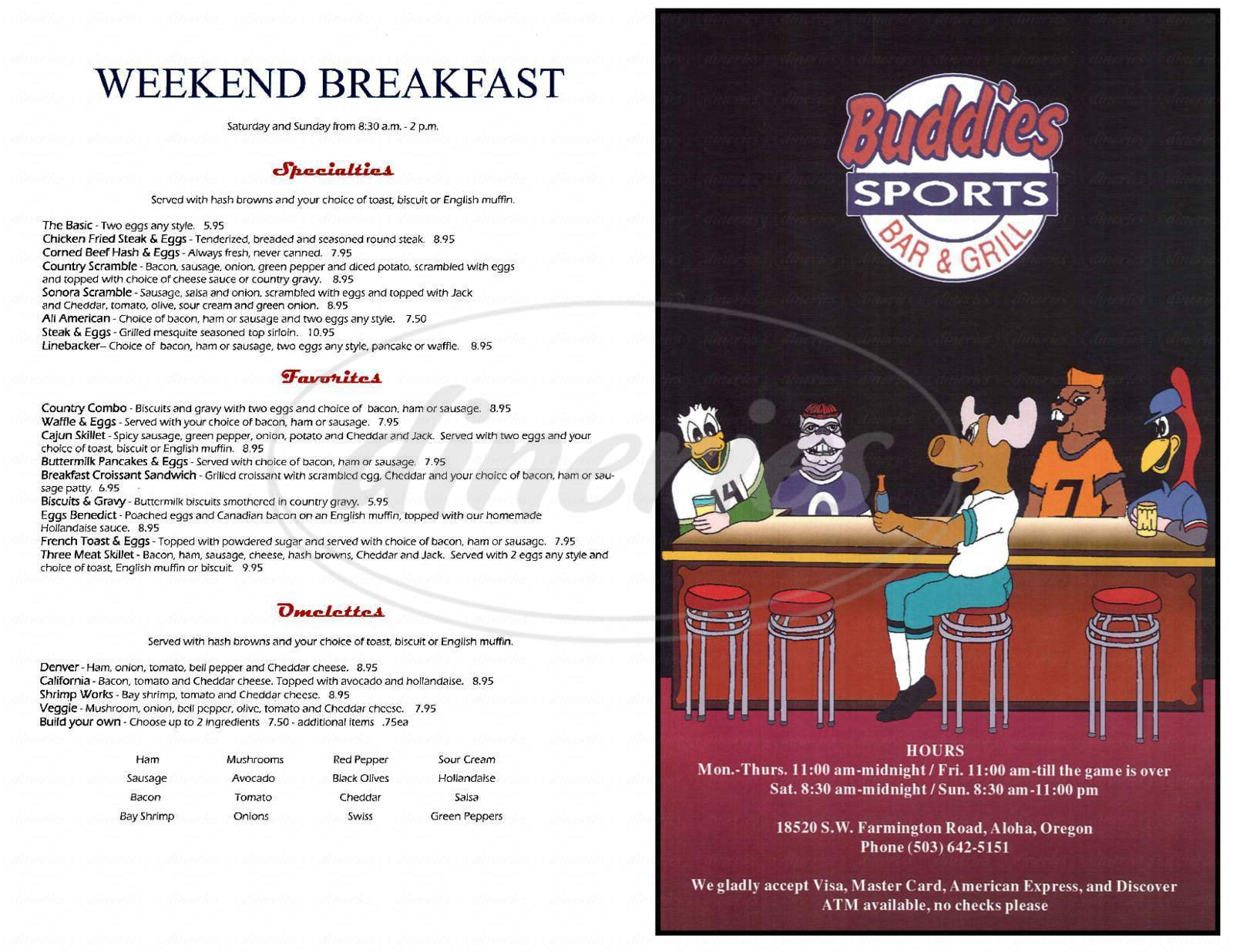 menu for Buddies Sports Bar & Grill