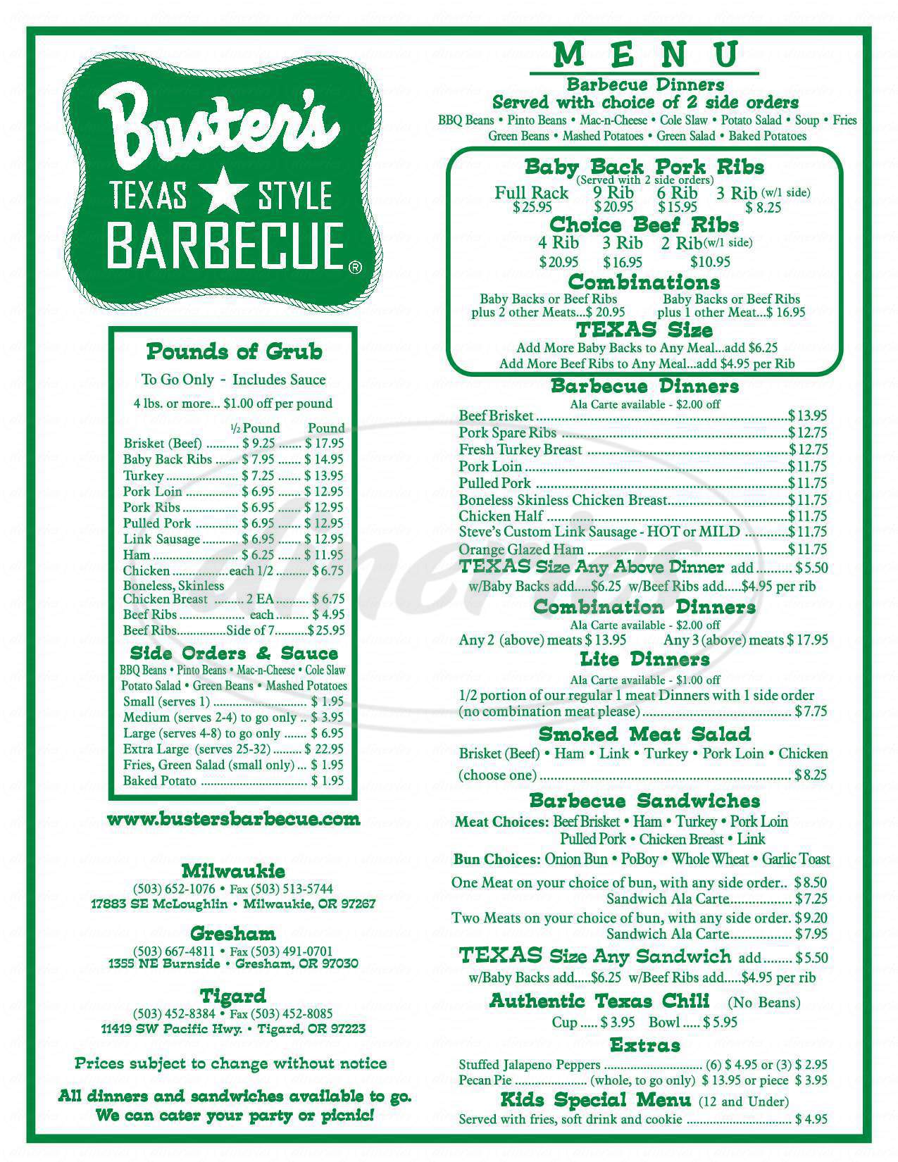 menu for Busters Texas Style Barbecue