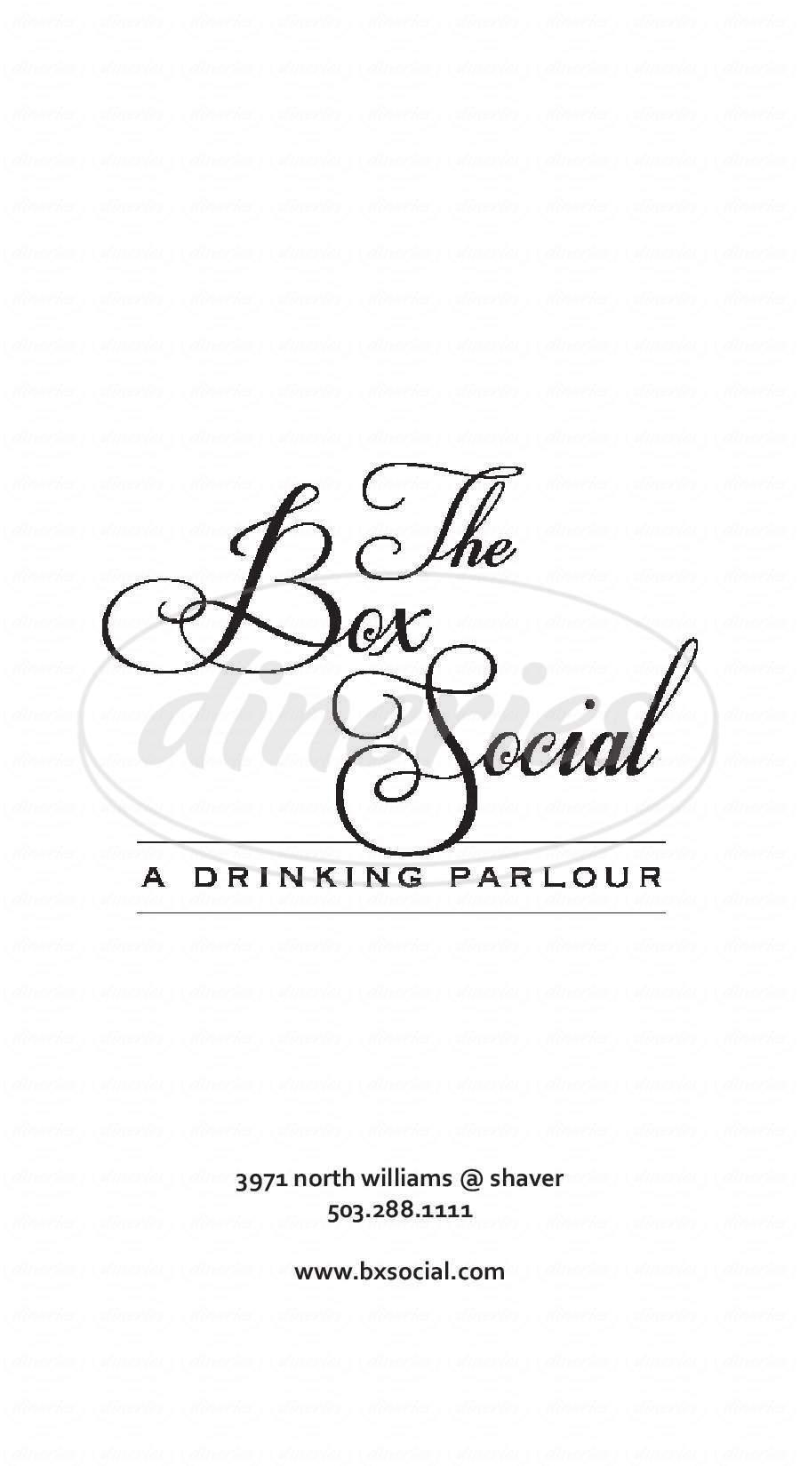 menu for The Box Social