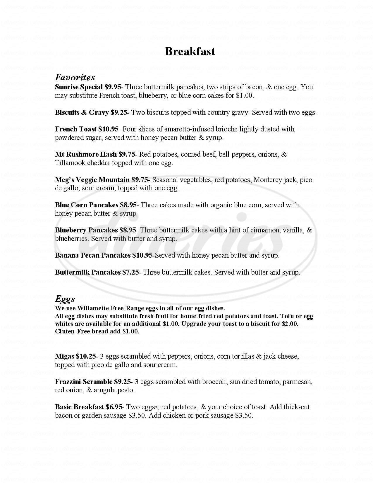 menu for Byways Cafe
