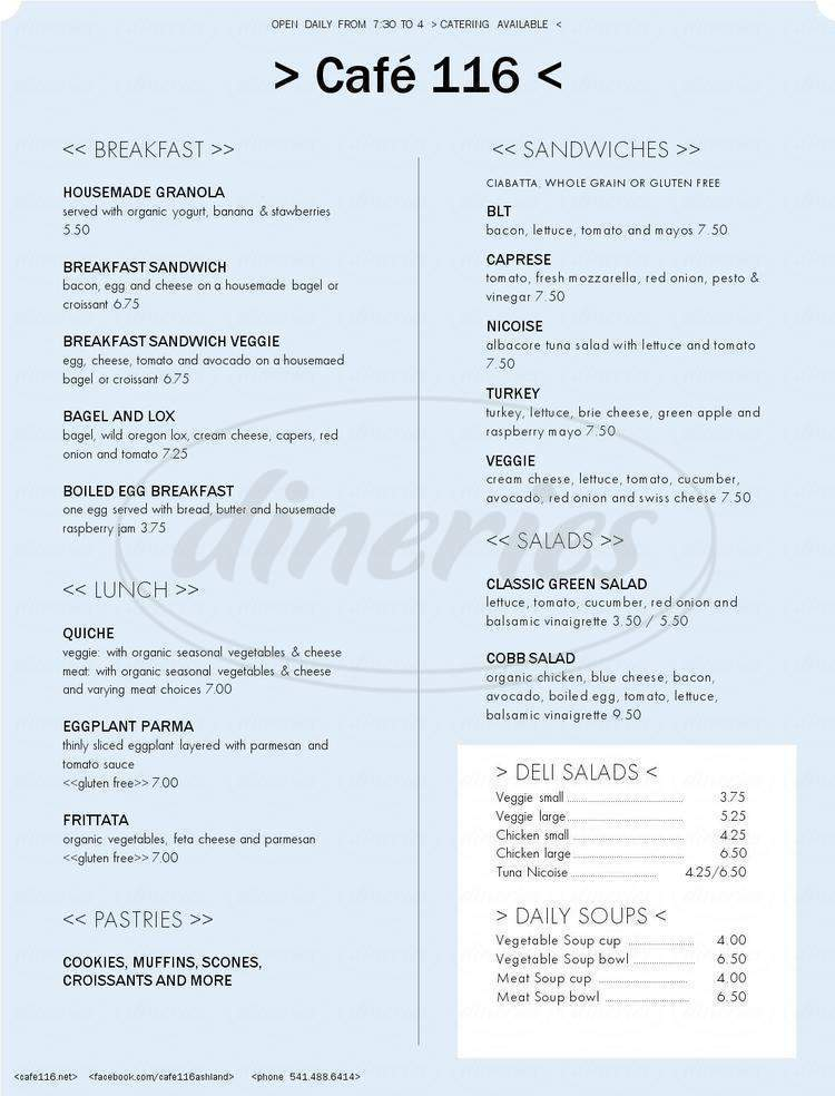menu for Café 116