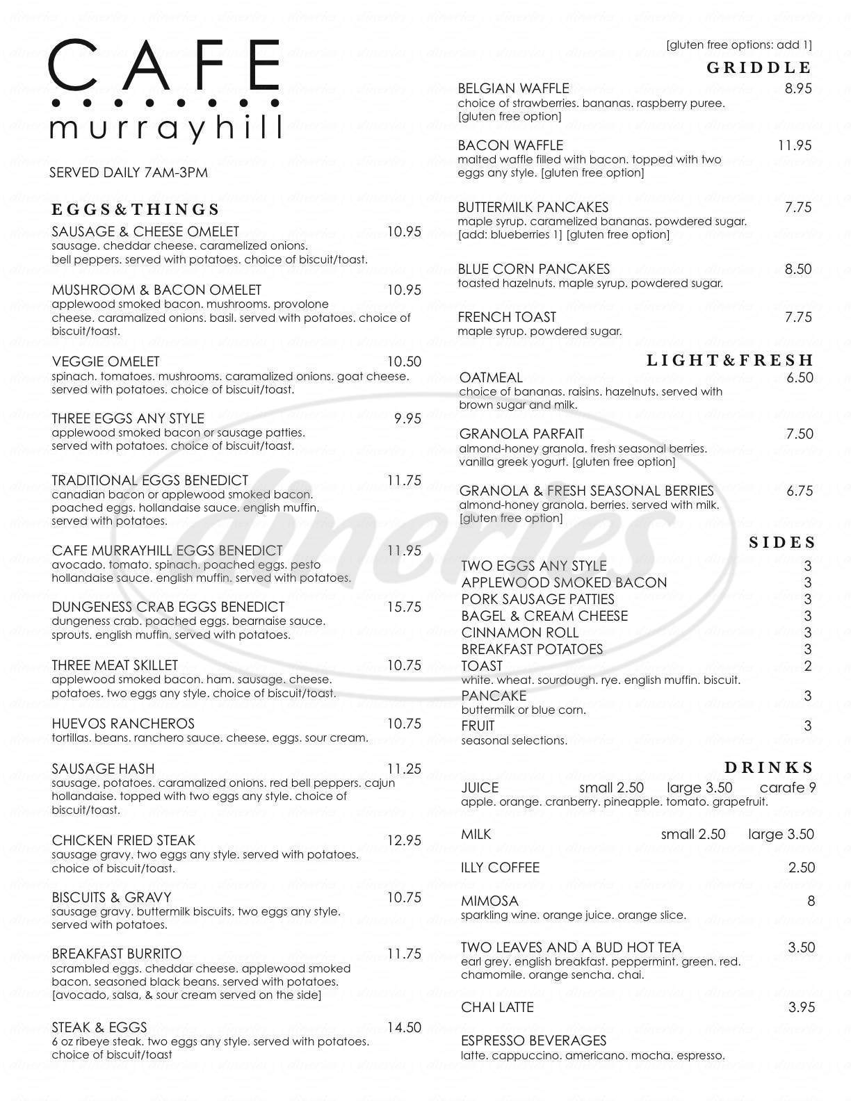 menu for Cafe Murrayhill