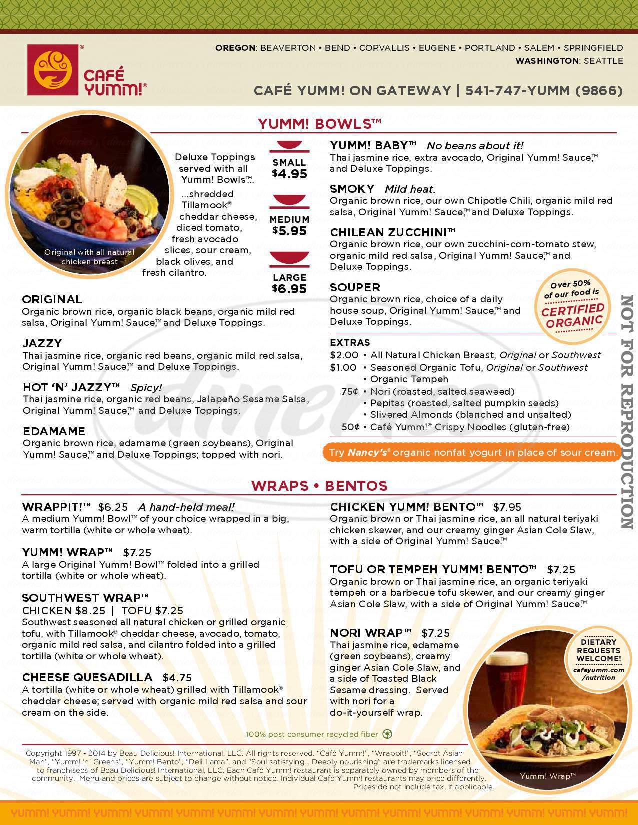 menu for Cafe Yumm