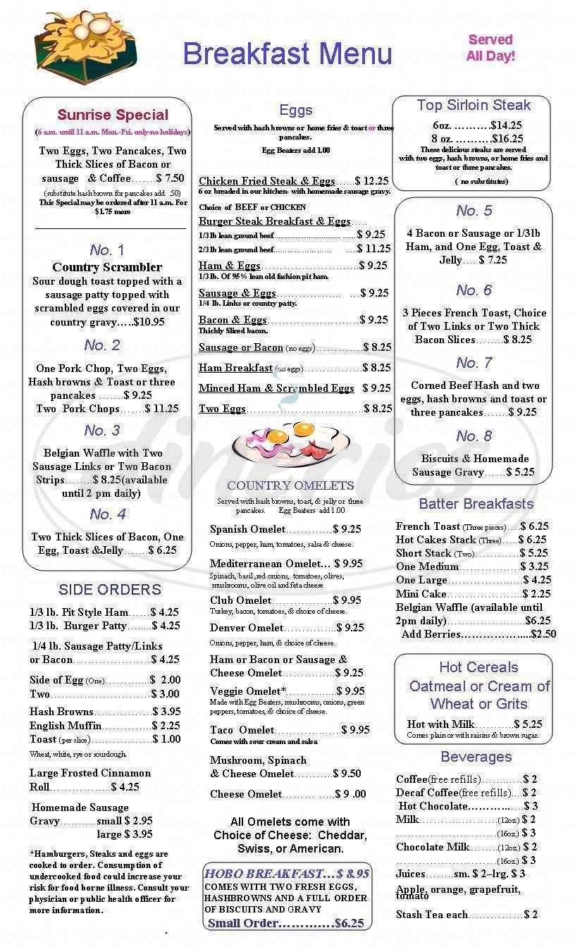menu for Top O Hill Restaurant