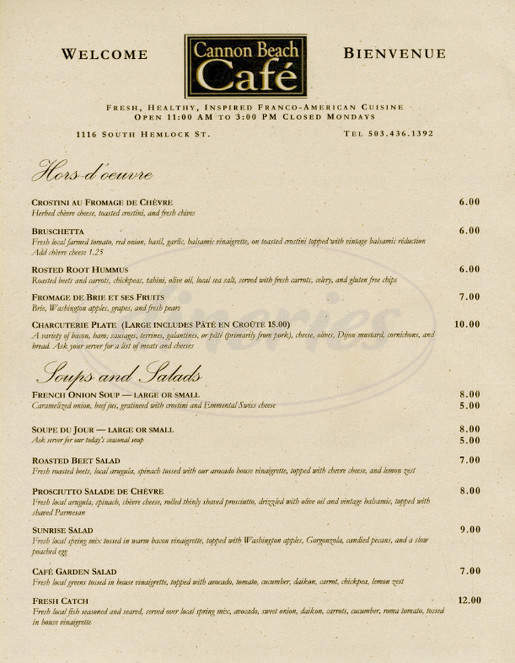 menu for Cannon Beach Cafe