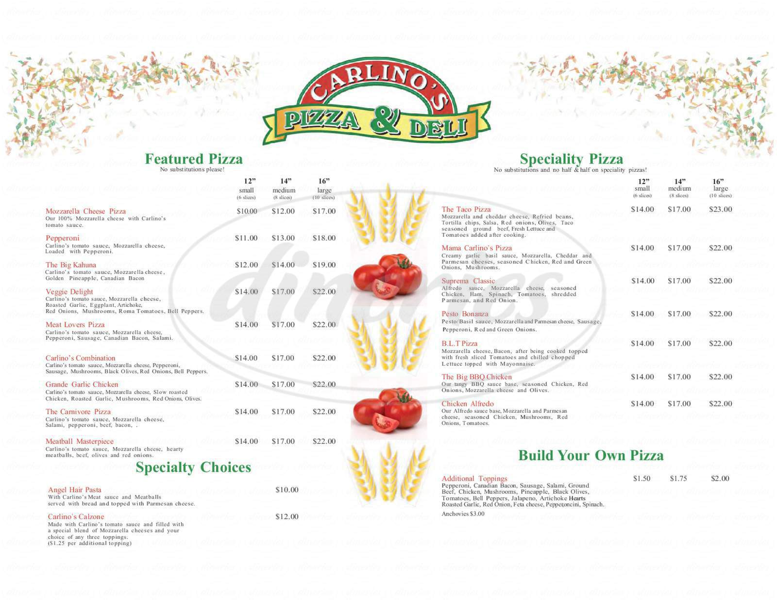 menu for Carlino's Pizza & Deli