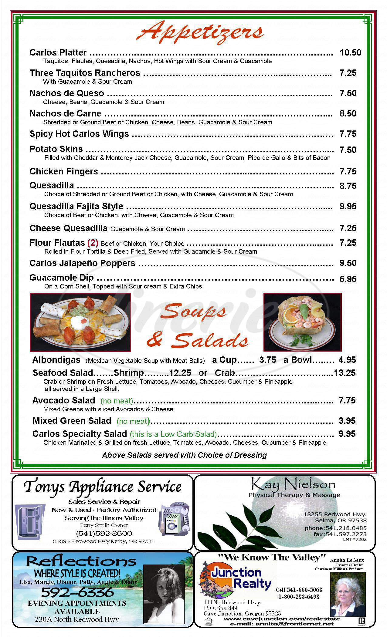 menu for Carlos Mexican and Seafood Restaurante