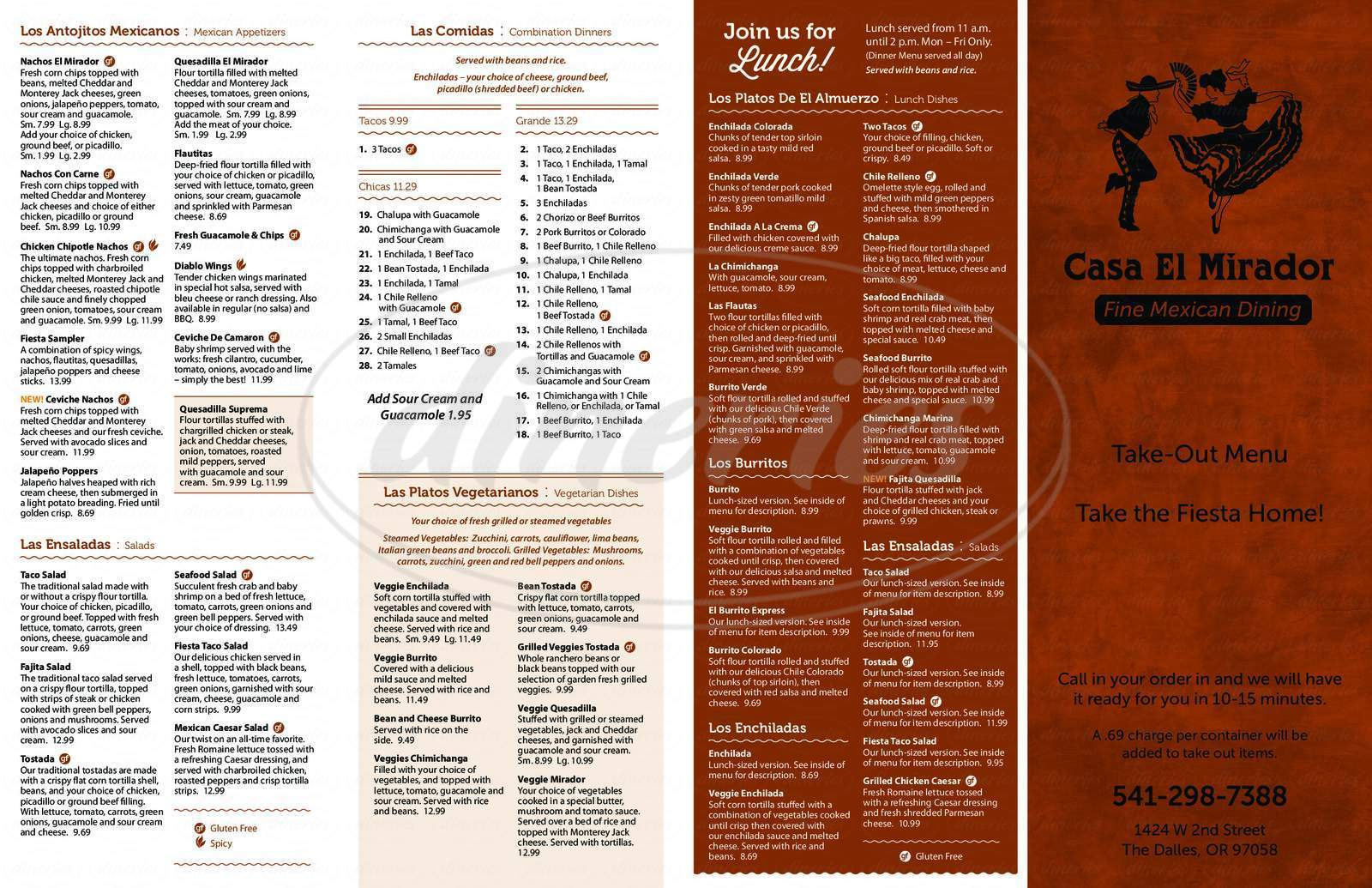menu for Casa El Mirador