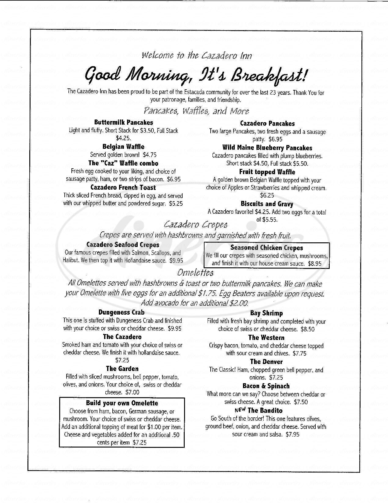menu for Cazadero Inn