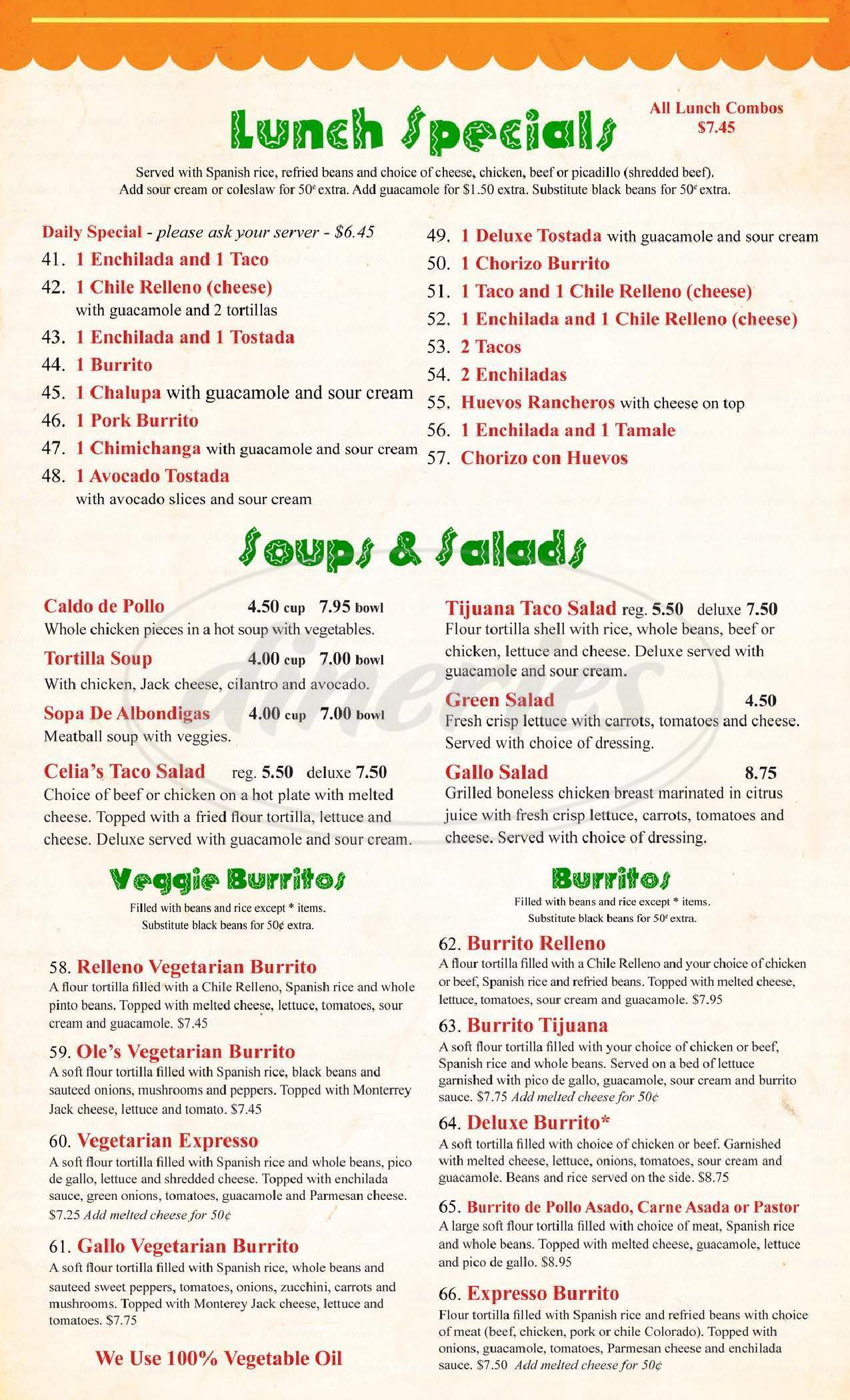menu for Celia's Mexican Restaurant
