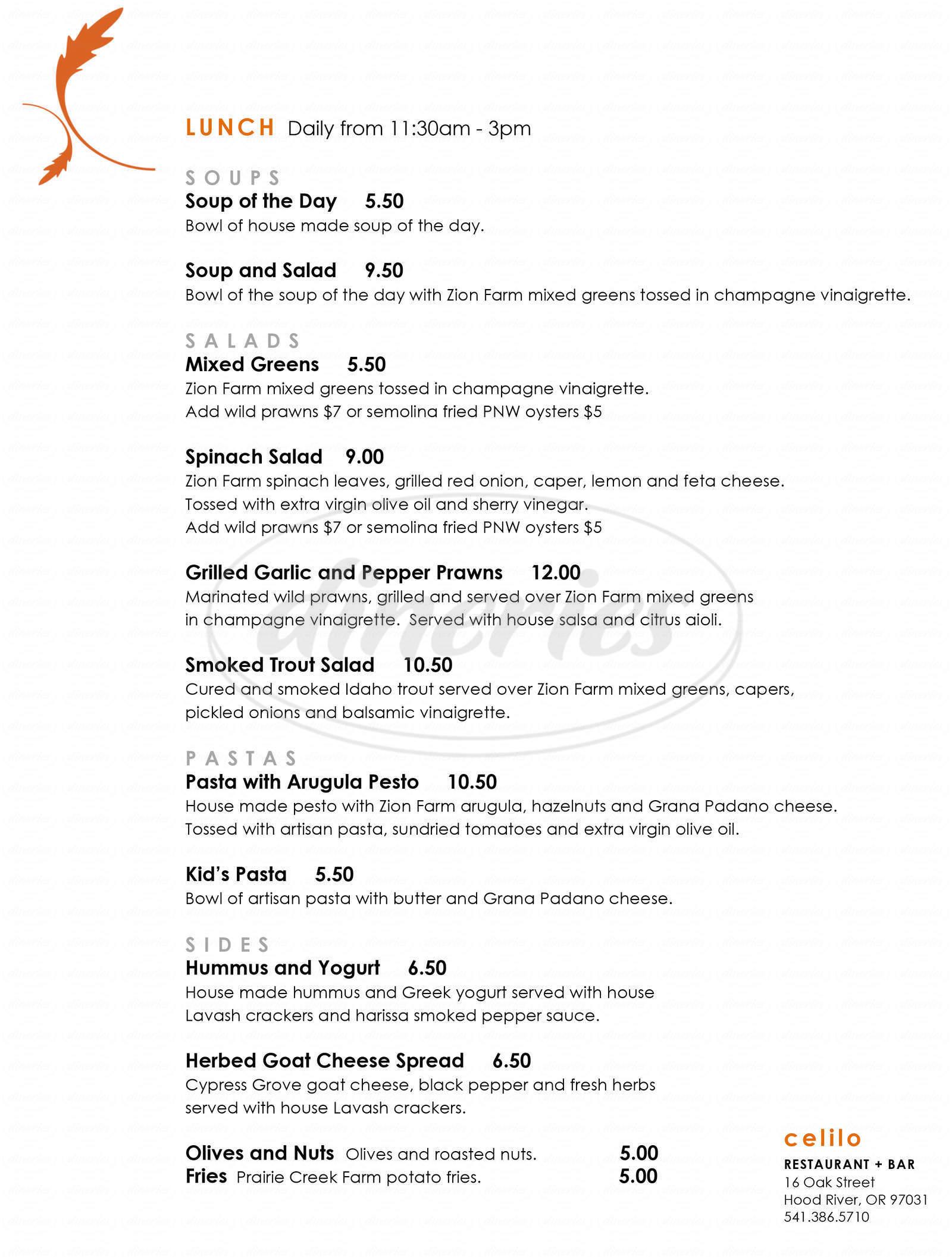 menu for Celilo Restaurant and Bar