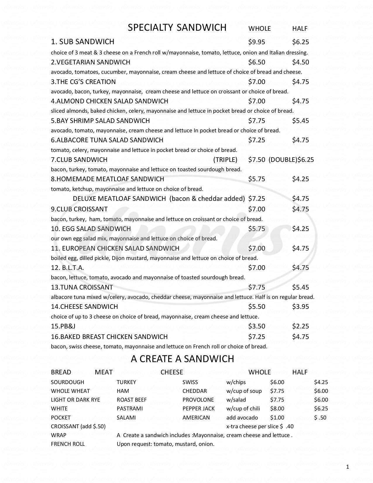 menu for CG's Deli