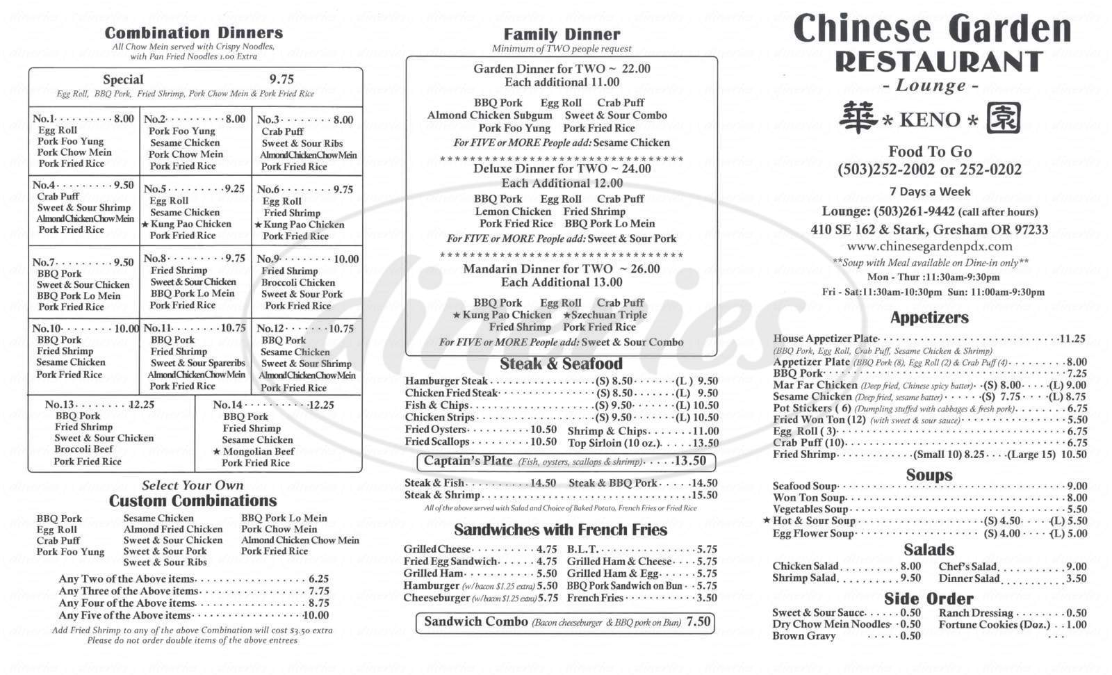 menu for Chinese Gardens