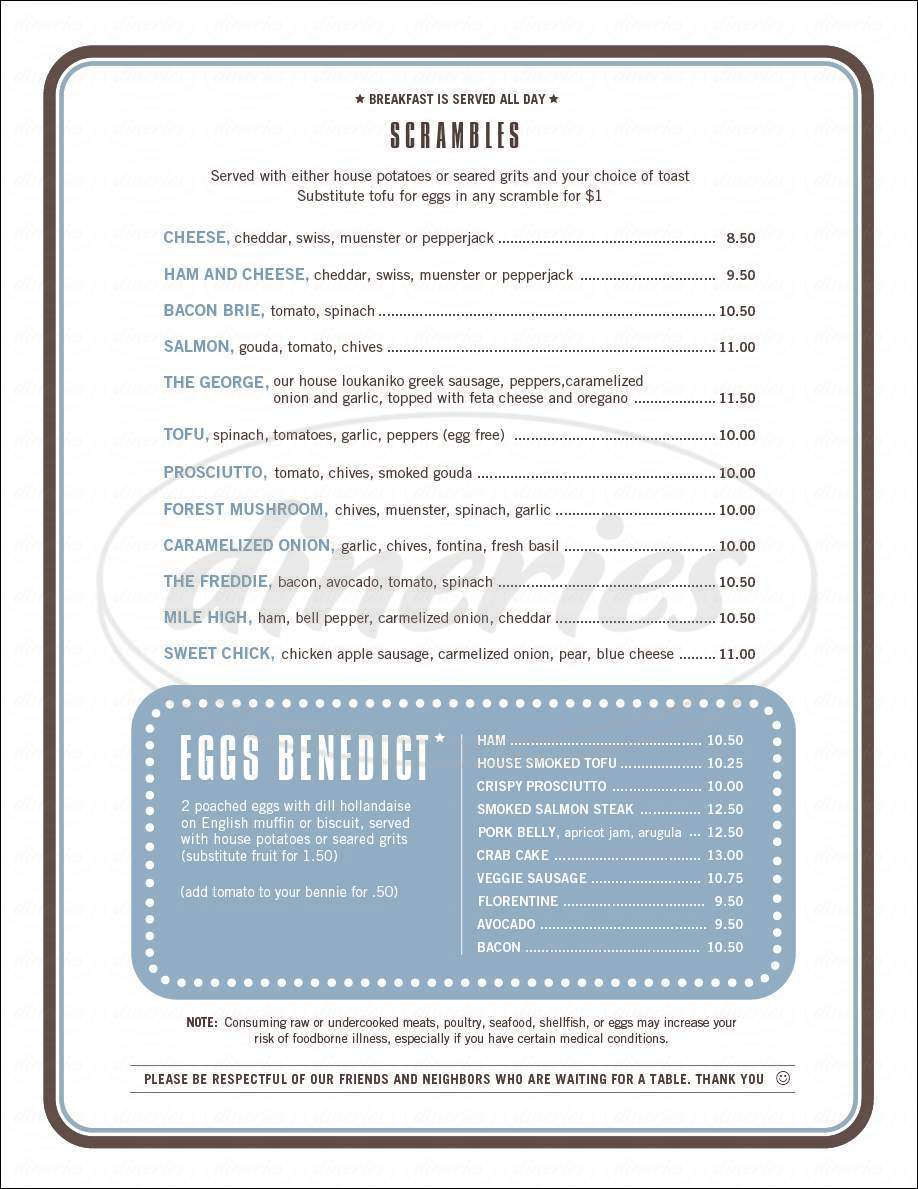 menu for City State Diner