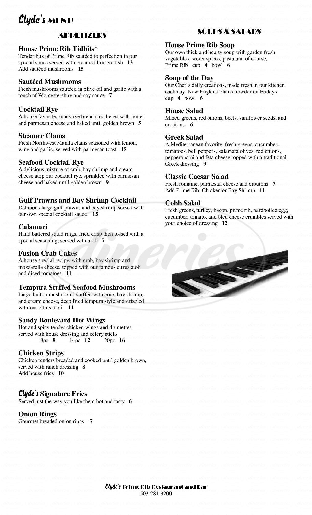menu for Clyde's Prime Rib Restaurant & Bar