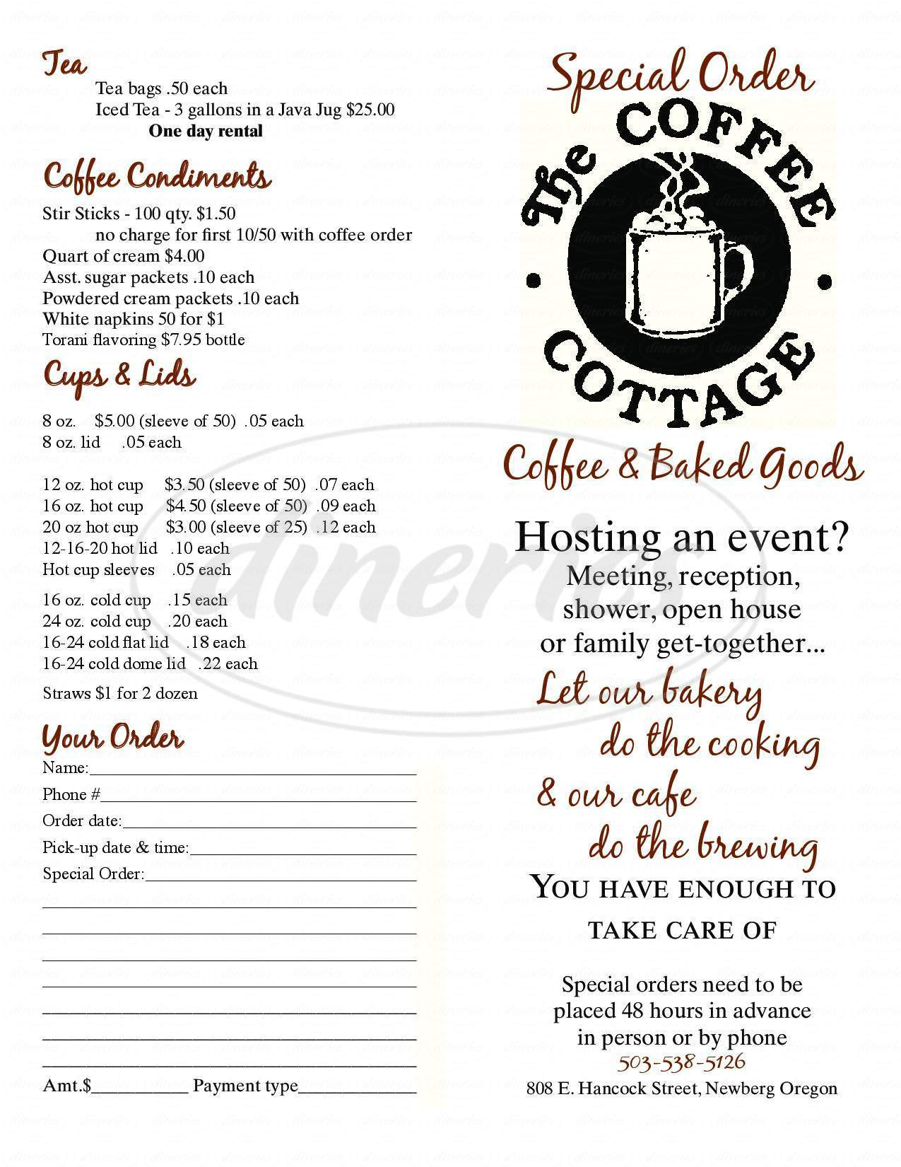 menu for Coffee Cottage