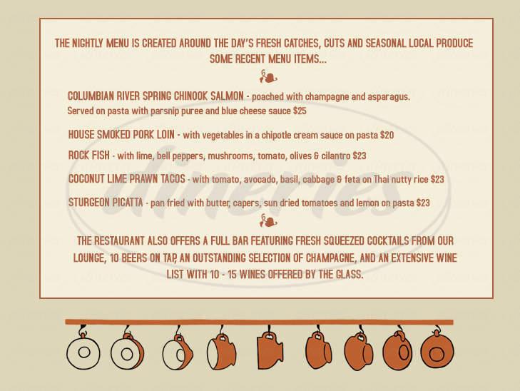 menu for Columbian Cafe