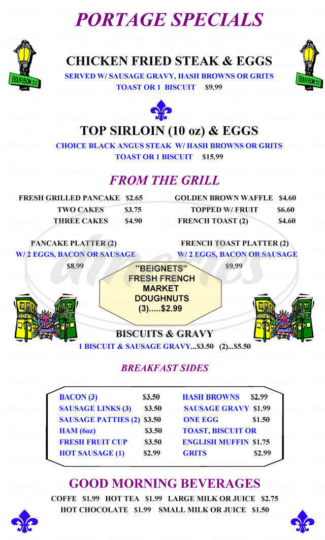 menu for Columbia Portage Grill
