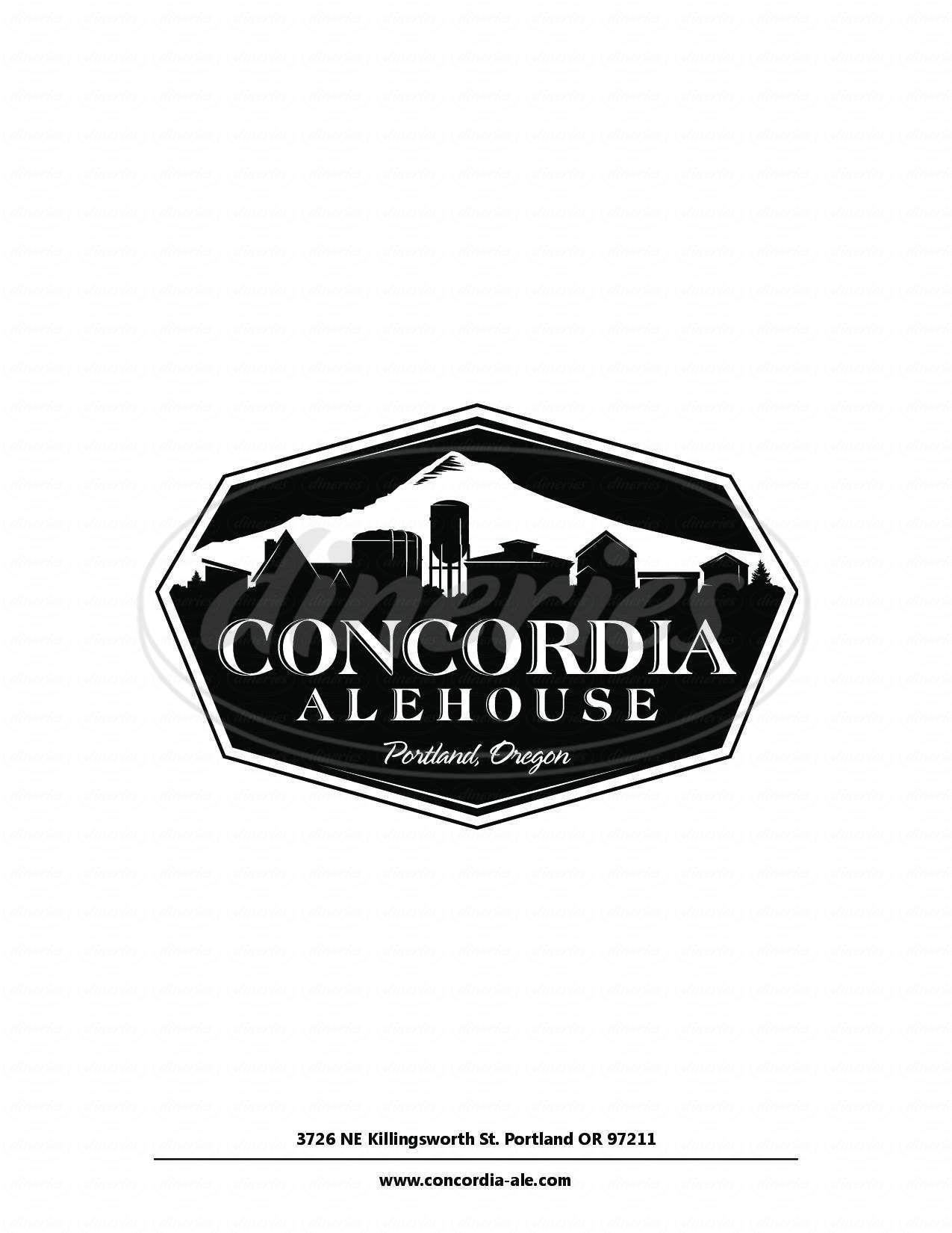 menu for Concordia Ale House