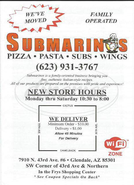 menu for Submarinos